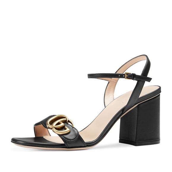 b89309ec0020 Gucci Shoes - Gucci Marmont  Women s Black Leather GG Block-Heel